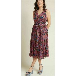 ModCloth Chiffon Midi All-Over Pleats Dress M, L
